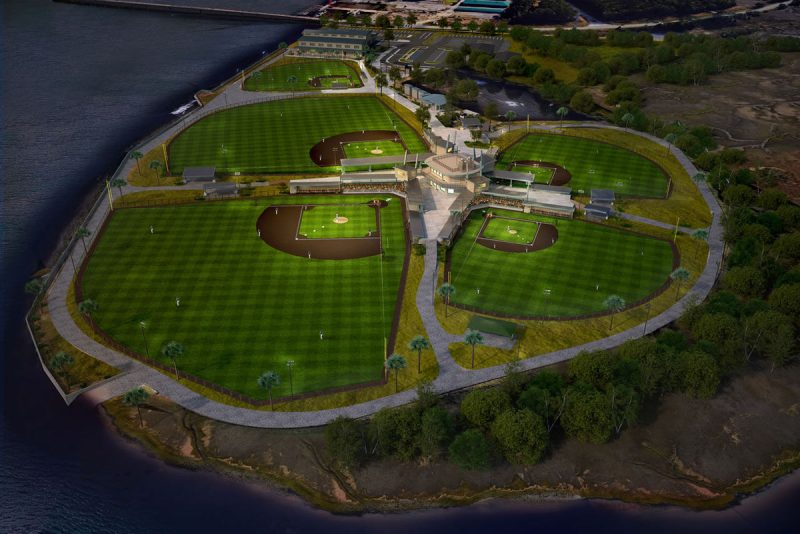 A conceptual image showing what the baseball park on the east side of the Wando River, along S.C. Highway 41, is expected to look like when completed later this year.
